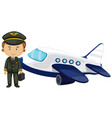 pilot and airplane on white background vector image vector image