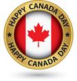 Happy Canada Day gold label vector image vector image