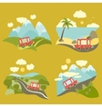 Summer vacation trip icons set vector image