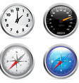 clock speedometer and compass set vector image
