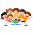 Cartoon little kid reading book funny vector image vector image