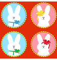 Four funny rabbits in round frameworks vector image