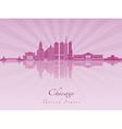 Chicago skyline in purple radiant orchid vector image