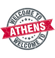 welcome to Athens red round vintage stamp vector image