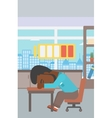 Man sleeping at workplace vector image