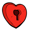 comic cartoon heart with keyhole vector image