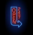 neon sign open 24 7 light background vector image