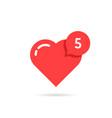 red heart like simple notification vector image