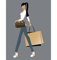 Lady with bags vector image
