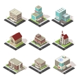 City Buildings And Roads Isometric Set vector image
