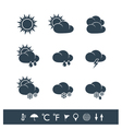Weather icons black and white vector image vector image