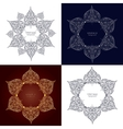 Set of four ornamental round lace circle ornament vector image