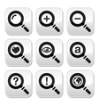 Magnyfying glass web search buttons set vector image