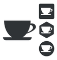 Cup icon set monochrome vector image
