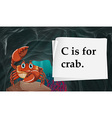 Letter C is for crab vector image vector image