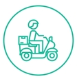 Man carrying goods on bike line icon vector image