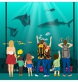 people watching underwater scenery in oceanarium vector image