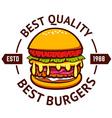 Best burgers Hamburger isolated on white vector image