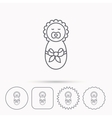 Newborn baby icon Toddler with bow sign vector image