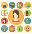 Set of flat design beauty concept icons Woman vector image
