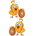 Cartoon Chick Holding An Egg vector image vector image