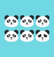 flat panda faces vector image