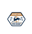 hunter club isolated badge with wild animal vector image vector image