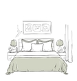 Bedroom modern interior drawing vector image