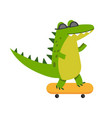 funny cartoon crocodile character riding vector image