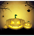 Halloween background with pumpkins and spider vector image