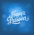 happy passover card with blue bokeh background vector image
