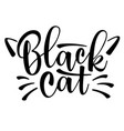 lettering black cat with cute cat whiskers vector image