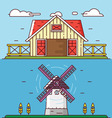 Linear flat rural landscapes Granary and windmill vector image
