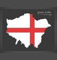 Greater london map england uk with english vector image