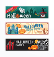 Halloween Day Party Banner Template Design vector image