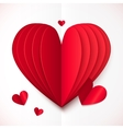 Red and white folded paper heart vector image vector image