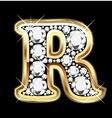 letter r gold and diamond vector image