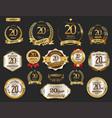 anniversary golden laurel wreath and badges 20 vector image