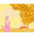 beautiful girl in autumn park vector image