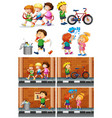 children playing with friends on the road vector image