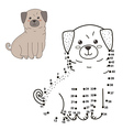Connect the dots to draw the cute dog vector image