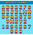 Pixel 8 bit letters and numbers game font vector image