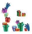 set of christmas gifts in boxes collection of vector image