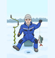 the fisherman on winter fishing vector image