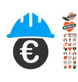 euro under safety helmet icon with dating bonus vector image