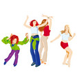 four dancing girls vector image