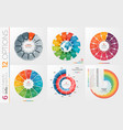 collection of 6 circle chart templates 12 vector image