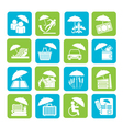 Silhouette insurance and business icons vector image vector image