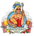 BBQ Grill Party label design vector image