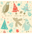 Vintage Christmas Card Pattern vector image vector image